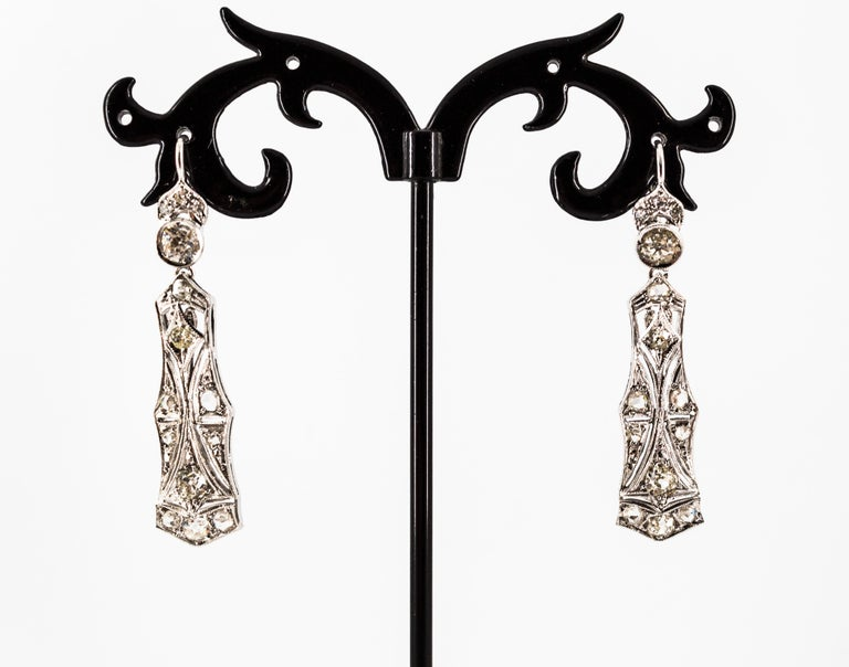 2.40 Carat White Old European Cut Diamond White Gold Lever-Back Drop Earrings For Sale 6
