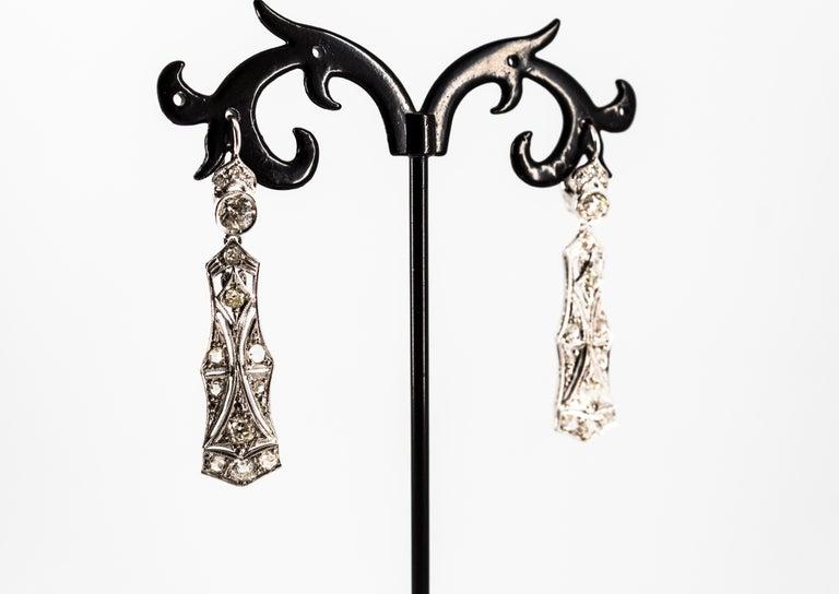 2.40 Carat White Old European Cut Diamond White Gold Lever-Back Drop Earrings For Sale 7
