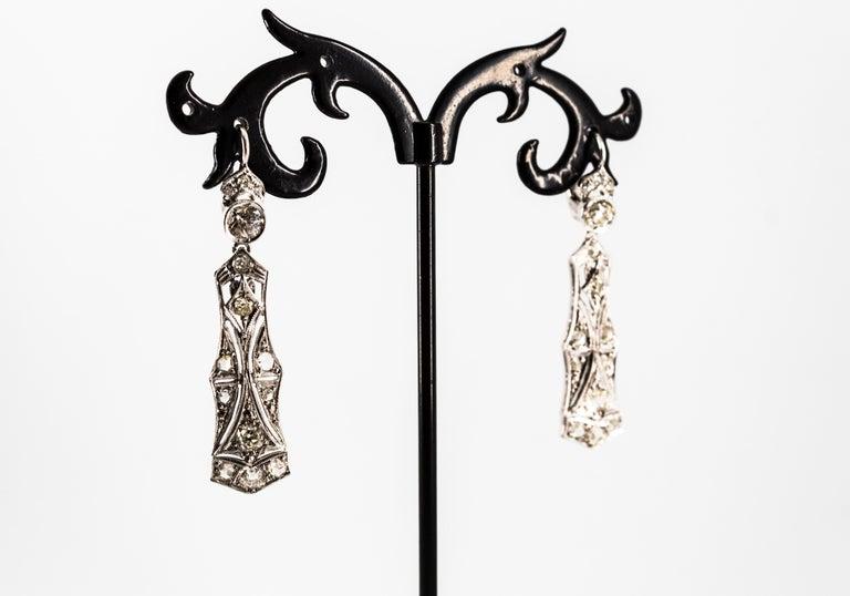 2.40 Carat White Old European Cut Diamond White Gold Lever-Back Drop Earrings For Sale 8