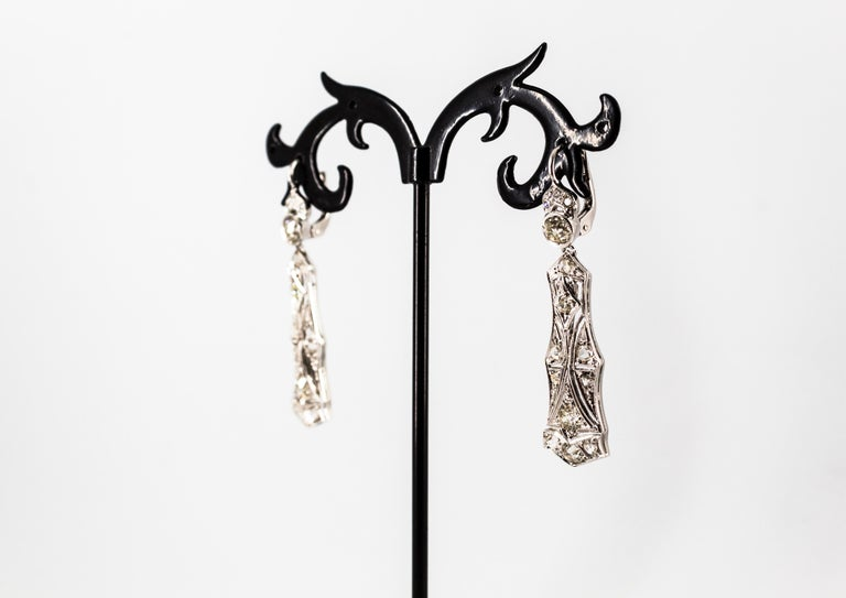 2.40 Carat White Old European Cut Diamond White Gold Lever-Back Drop Earrings For Sale 11