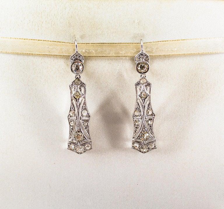 Women's or Men's 2.40 Carat White Old European Cut Diamond White Gold Lever-Back Drop Earrings For Sale