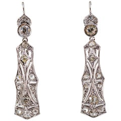 2.40 Carat White Old European Cut Diamond White Gold Lever-Back Drop Earrings