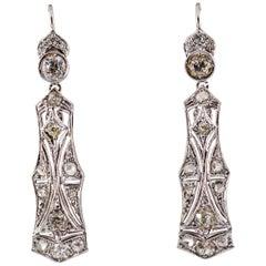 2.40 Carat White Old European Cut Diamond White Gold Lever-Back Drop Earrings