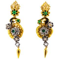 2.40 Carat White Rose Cut Diamond Emerald Enamel Yellow Gold Flowers Earrings