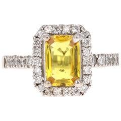 2.40 Carat Yellow Sapphire Diamond Halo Ring 14 Karat White Gold