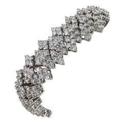 24.00 Carat Round Brilliant Diamond Platinum Flexible Link Estate Bracelet