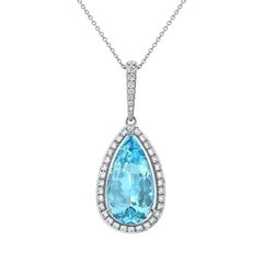 24.01 Carat Pear Shaped Aquamarine Diamond White Gold Pendant Necklace
