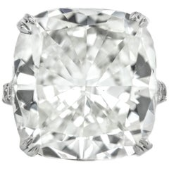 24.03 Carat Cushion Cut Diamond Engagement Ring