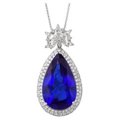 24.06 Carat Pear Shaped Tanzanite Pendant in 18 Karat White Gold with Diamonds