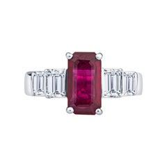 2.40ct Burma Emerald Cut Ruby with 1.30ctw in Emerald Cut Diamond Accents Ring