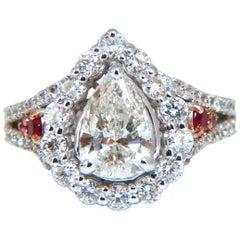 2.40 Carat Natural Pear Shaped Diamond Ruby Cocktail Halo Cluster Ring 14 Karat
