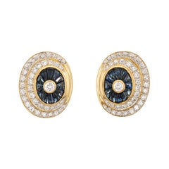 2.40ct Sapphire Diamond Earrings Vintage 14k Yellow Gold Large Oval Jewelry
