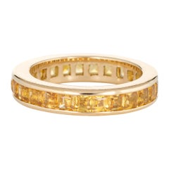2.40ct Yellow Sapphire Eternity Ring 5.25 Estate Square Emerald Cut Stack Band