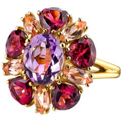 2.41 Carat Amethyst with Garnet and Topaz 18k Yellow Gold Ring