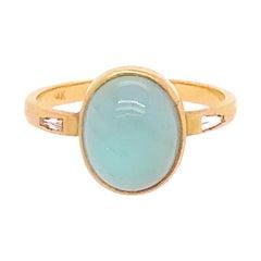 2.41 Carat Aquamarine Cabochon and Diamond Three-Stone Ring, 14 Karat Gold