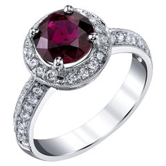 2.41 Carat GIA Certified Round Ruby and Diamond Halo White Gold Cocktail Ring