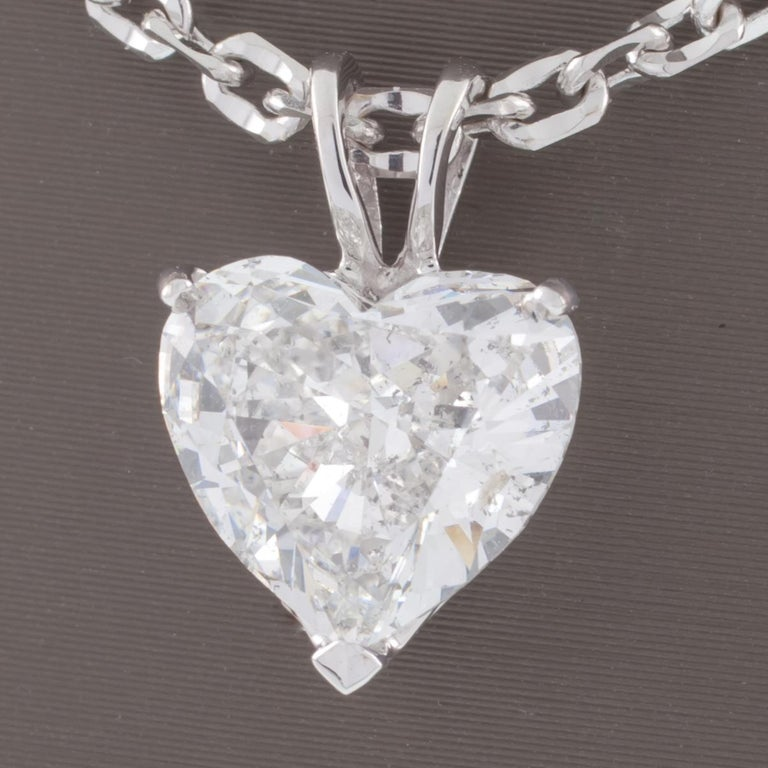 2 41 Carat Heart Shaped Diamond Solitaire Pendant With