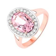2.41 Carat Morganite and Diamond 14 Karat Rose Gold Cocktail Ring