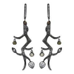 2.41 Carat / Natural Fancy Diamonds / Branch Motif / Drop Earrings