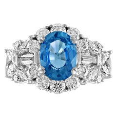 GIA Certified 2.38 Carat Oval Blue Sapphire Diamond Gold Ring