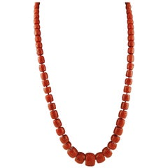241.2 g Red Coral Long Retrò Necklace