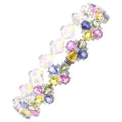24.18 Carat Sapphire Diamond 14 Carat White Gold Bracelet