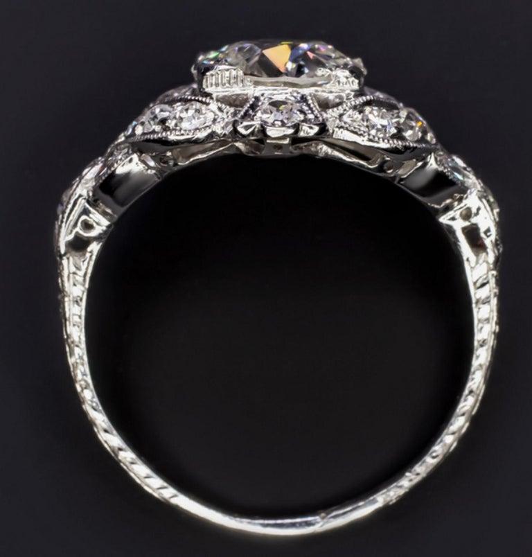 Cushion Cut 2.42 Carat Art Deco Engagement Ring Platinum For Sale