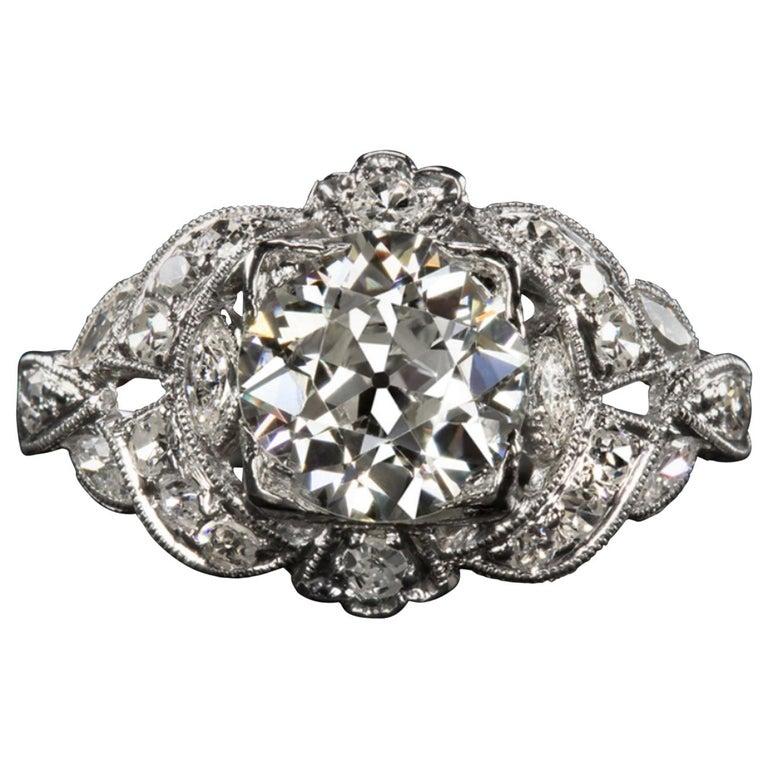 2.42 Carat Art Deco Engagement Ring Platinum For Sale