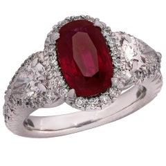 2.42 Carat Burma No-Heat Ruby and Diamond Ring