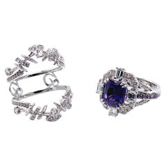 2.42 Carat Color-Changing Violet Sapphire and Diamond Collectible Ring