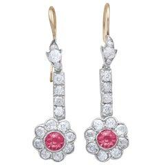 2.42 Carat Diamond and 1.05 Carat Pink Sapphire Drop Earrings