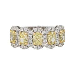 2.42 Carat Five Oval Fancy Diamond Halo Ring 18 Karat in Stock