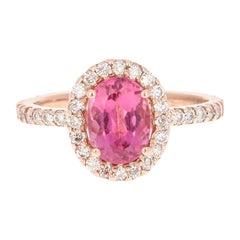 2.42 Carat Pink Tourmaline Diamond 14 Karat Rose Gold Ring