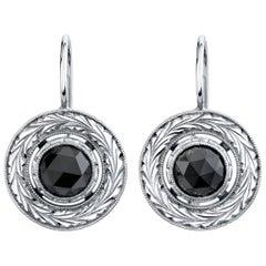2.42 Carat Rose Cut Black Diamonds 18 Karat White Gold Earrings