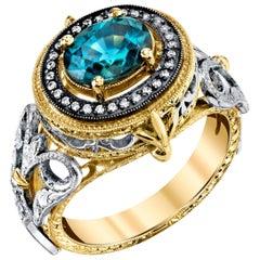 2.42 Carat Zircon with 0.20 Carat Diamonds 18 Karat White, Yellow Gold Ring