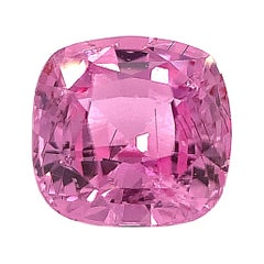 2.42 Ct Pink Sapphire Cushion GIA, Unset Loose 3-Stone Engagement Ring Gemstone