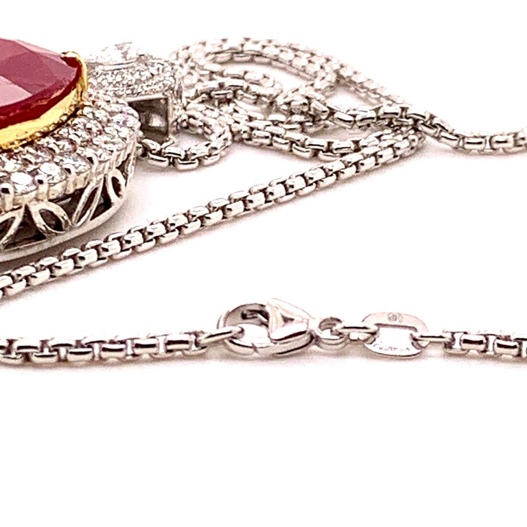 Cushion Cut Mozambique 24.21 Carat Ruby Diamond Pendant Necklace For Sale