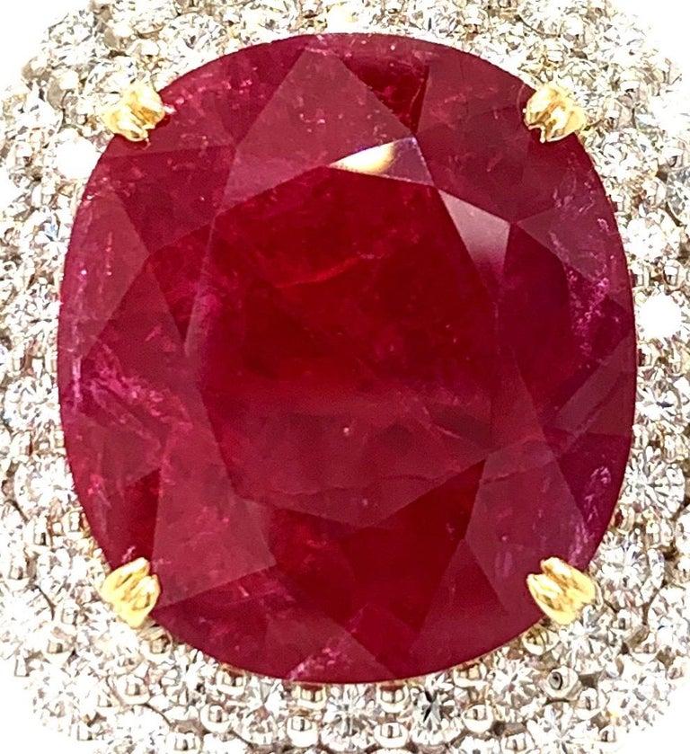 Mozambique 24.21 Carat Ruby Diamond Pendant Necklace For Sale 2