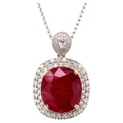 24.21 Carat Ruby Diamond Pendant Necklace