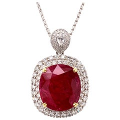 Mozambique 24.21 Carat Ruby Diamond Pendant Necklace