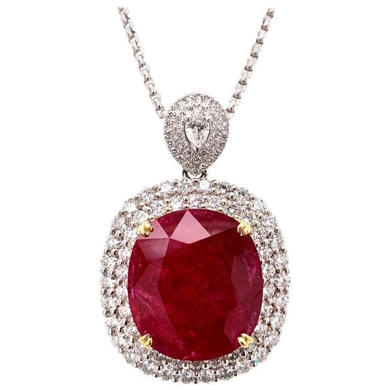 Mozambique 24.21 Carat Ruby Diamond Pendant Necklace For Sale