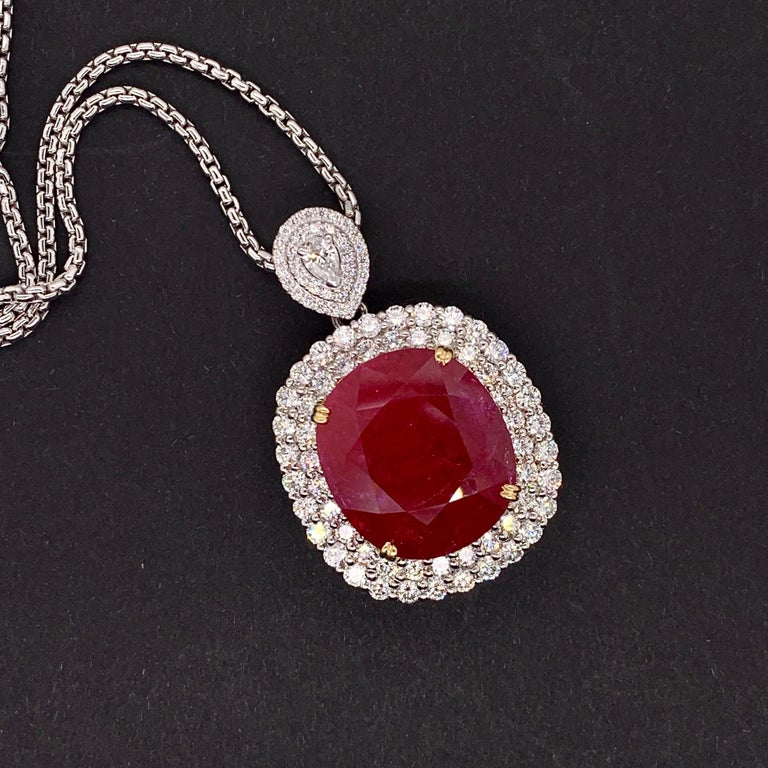 Mozambique 24.21 Carat Ruby Diamond Pendant Necklace In New Condition For Sale In Richmond, BC
