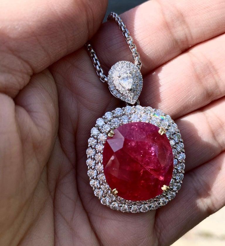 Women's or Men's Mozambique 24.21 Carat Ruby Diamond Pendant Necklace For Sale