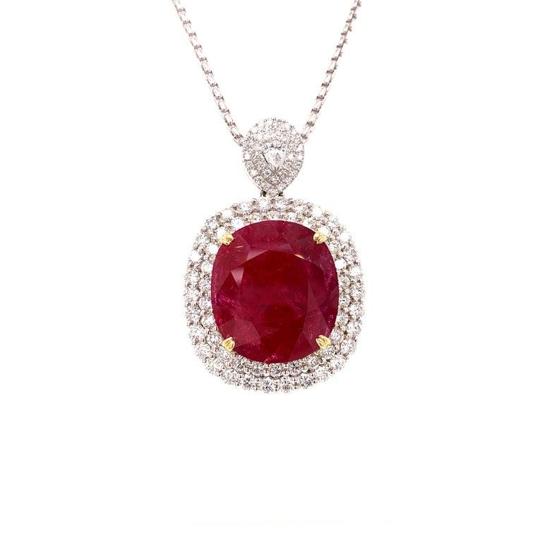 Mozambique 24.21 Carat Ruby Diamond Pendant Necklace For Sale 1