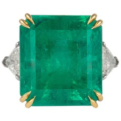 Alexander 24.25 Carat Columbian Emerald with Diamond 3-Stone Ring Platinum & 18K