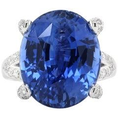 24.26 Carat Blue Sapphire Diamond Bridal Ring