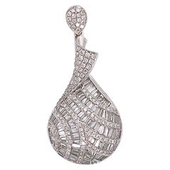 2.43 Carat Baguette Drop Pendant Necklace