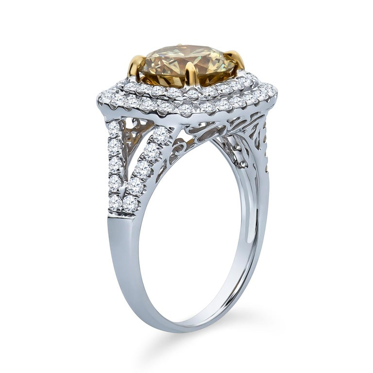 Round Cut 2.43 Carat 'GIA' Round Natural Brown-Green-Yellow Diamond with Double Halo Ring For Sale