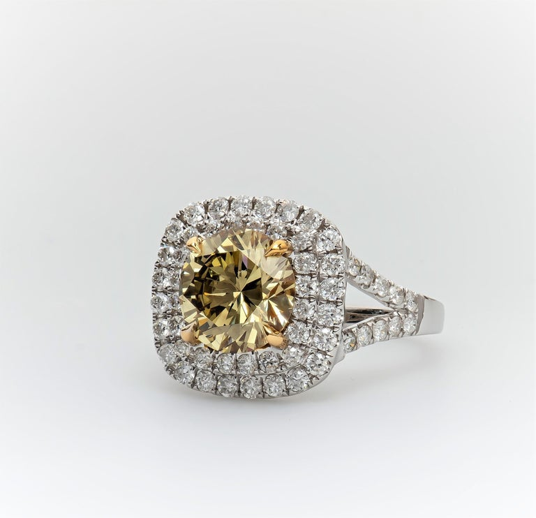 Women's 2.43 Carat 'GIA' Round Natural Brown-Green-Yellow Diamond with Double Halo Ring For Sale