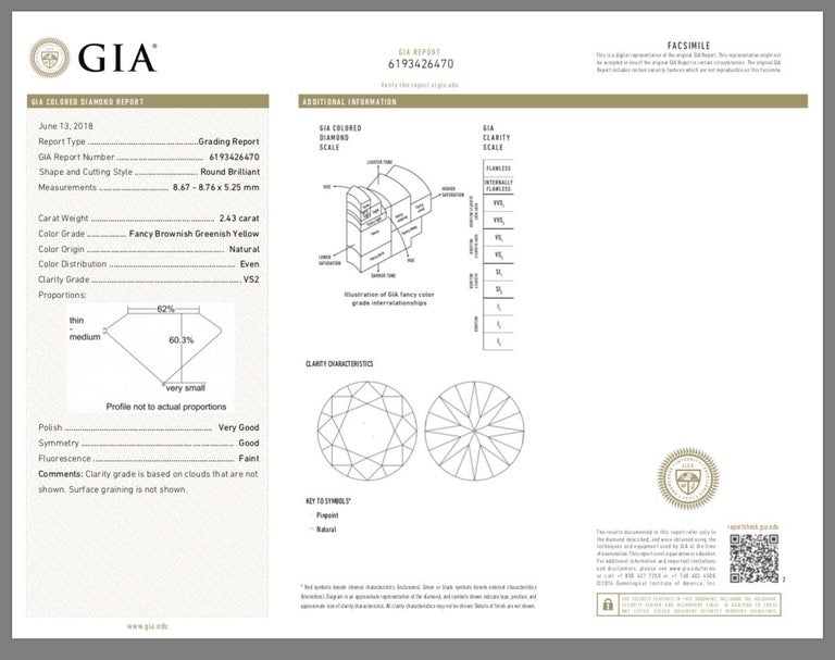 2.43 Carat 'GIA' Round Natural Brown-Green-Yellow Diamond with Double Halo Ring For Sale 1